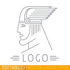 Man in winged helmet. Head of Greek or Viking god. Thin line icon. Logo template. Editable vector graphic in linear style.