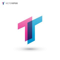 Abstract Overlap Letter T Logo