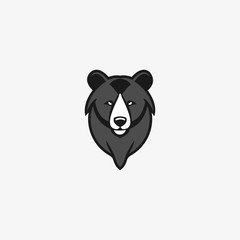 Vector illustration of bear head logo design template. flat style