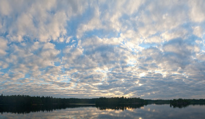 Evening clouds over lake