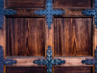 Old wooden medieval gate door