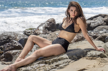 Brunette Model on Beach