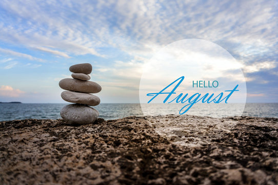 Hello August wallpaper, summer on beach. text with beach background