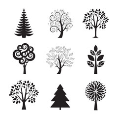 Stylized black tree icon set