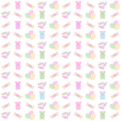 rainbow gummy bear and candy seamless pattern