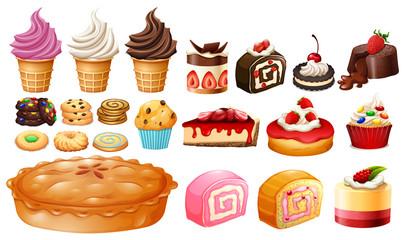Set of different kinds of desserts