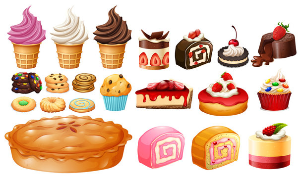 Set of different kinds of desserts