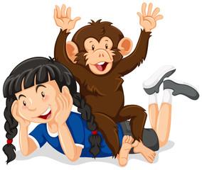 Little girl and cute monkey