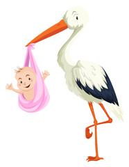 Crane delivering baby girl