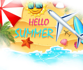 Summer theme with beach and airplane