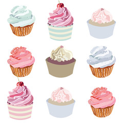 Cupcakes Vector set collection