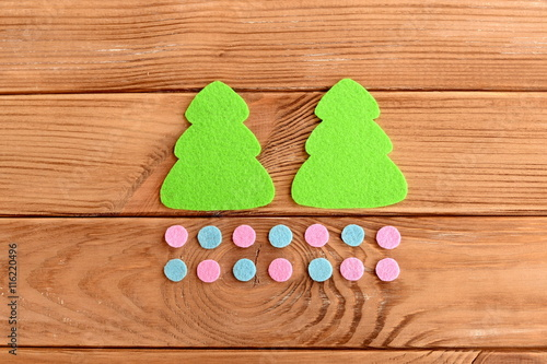 Green Christmas Tree Patterns Pink And Blue Balls On Wooden