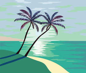 Summer Beach Vector illustration. Summer seaside shore with palm trees Vector