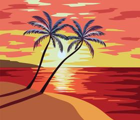 Sunset Beach Vector illustration. Summer Sunset seaside with palm trees Vector