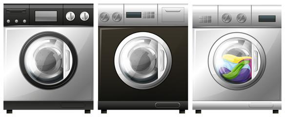 Washing machine with laundry inside