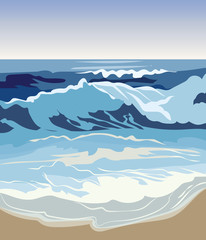 Summer Beach Waves Vector illustration. Summer seaside sand and Waves Background