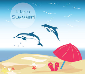 Vector Summer Beach Illustration with Dolphins