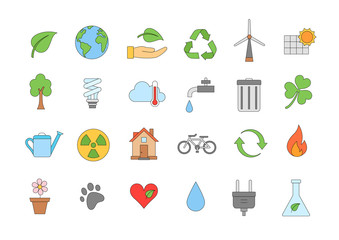 Eco colorful icons set