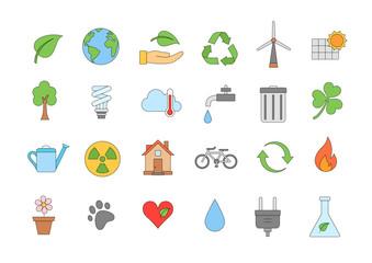 Eco colorful icons set