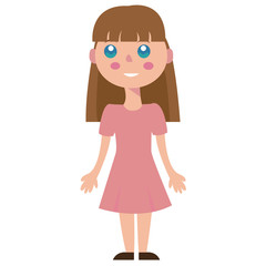 cute, little girl, cartoon, vector, image.