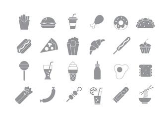Junk food gray vector icons