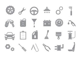 Mechanic gray vector icons set
