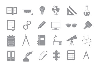 School elements gray vector icons set