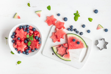 Watermelon salad. Cooking. Top view, flat lay