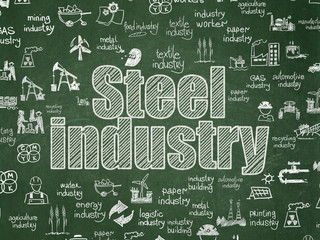 Manufacuring concept: Steel Industry on School board background