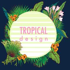 Tropical Floral circular Frame