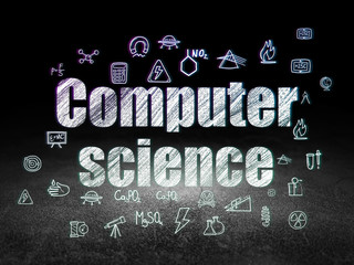 Science concept: Computer Science in grunge dark room