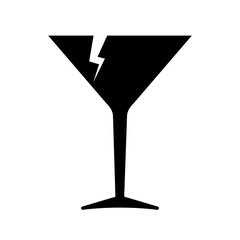 Fragile icon. Broken cocktail glass as symbol of fragile cargo. Vector Illustration