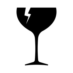 Fragile icon. Broken wine glass as symbol of fragile cargo. Vector Illustration