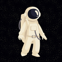 Cartoon astronaut in open cosmos vector illustration. Cosmonaut floating in space. Illustration of cosmos traveler, galaxy explorer, astronaut suit science and technology