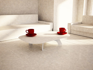 sofa, table, armchair in the room, 3d
