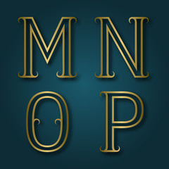 M, N, O, P shiny golden letters with shadow. Outline font with flourishes. Type in art deco style.
