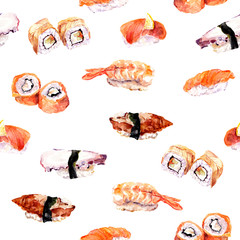 Sushi, roll seamless pattern. Watercolor food