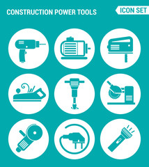 Vector set web icons. Construction Power Tools Drill perforator, saw, planer, pneumatic hammer, Angle grinder, socket, Lantern. Design of signs, symbols on a turquoise background