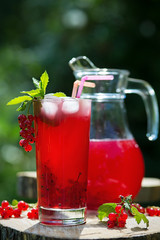 Homemade redcurrant juice in a glass and jug with mint  ice in summer garden