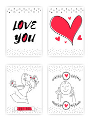 Set of Doodle style Love Cards with Hearts.