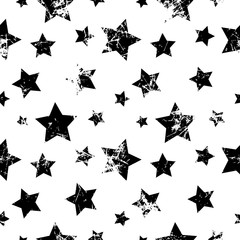Seamless vector pattern. Creative geometric black and white background with stars. Texture with attrition, cracks and ambrosia. Old style vintage design. Graphic illustration.