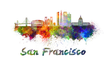 Wall Mural - San Francisco skyline in watercolor