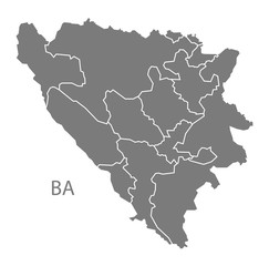 Bosnia Hercegovina regions Map grey