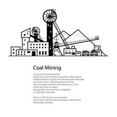 Coal Mine, Complex Industrial Facilities with Spoil Tip and with Rail Cars, Coal Industry, Poster Brochure Flyer Design, Vector Illustration