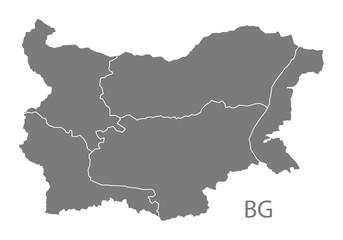 Bulgaria provinces Map grey