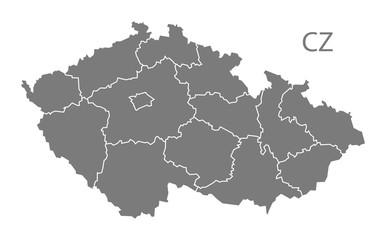 Czech Republic regions Map grey