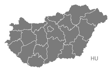 Hungary counties Map grey