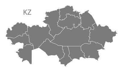 Kazakhstan provinces Map grey