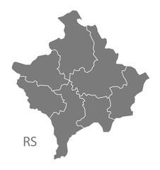 Kosovo districts Map grey