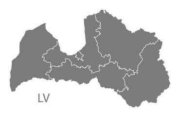 Latvia regions Map grey
